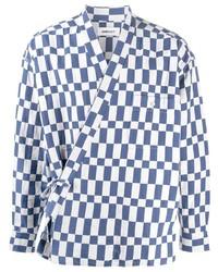 weißes und dunkelblaues Langarmhemd mit Karomuster von Ambush
