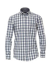 weißes und dunkelblaues Langarmhemd mit Karomuster von Casamoda