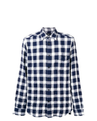 weißes und dunkelblaues Langarmhemd mit Karomuster von Diesel
