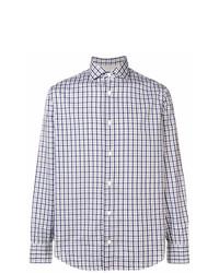 weißes und dunkelblaues Langarmhemd mit Karomuster von Eleventy