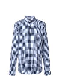 weißes und dunkelblaues Langarmhemd mit Karomuster von Etro