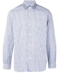 weißes und dunkelblaues Langarmhemd mit Karomuster von Junya Watanabe MAN