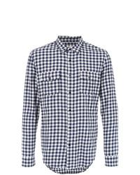 weißes und dunkelblaues Langarmhemd mit Karomuster von OSKLEN