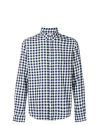 weißes und dunkelblaues Langarmhemd mit Karomuster von Sun 68