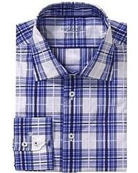 weißes und dunkelblaues Langarmhemd mit Schottenmuster