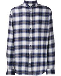 weißes und dunkelblaues Langarmhemd mit Schottenmuster von DSQUARED2