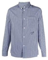 weißes und dunkelblaues Langarmhemd mit Vichy-Muster von adidas