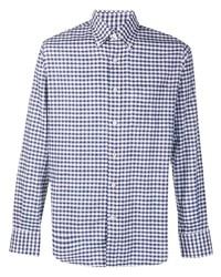weißes und dunkelblaues Langarmhemd mit Vichy-Muster von Canali