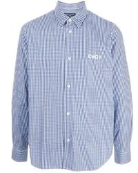 weißes und dunkelblaues Langarmhemd mit Vichy-Muster von Comme des Garcons Homme