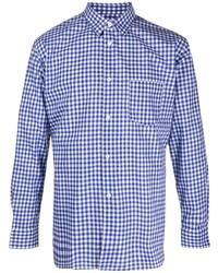 weißes und dunkelblaues Langarmhemd mit Vichy-Muster von Comme Des Garcons SHIRT