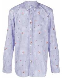 weißes und dunkelblaues Langarmhemd mit Vichy-Muster von Etro