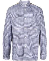 weißes und dunkelblaues Langarmhemd mit Vichy-Muster von Junya Watanabe