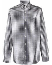 weißes und dunkelblaues Langarmhemd mit Vichy-Muster von Paul & Shark