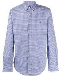 weißes und dunkelblaues Langarmhemd mit Vichy-Muster von Polo Ralph Lauren
