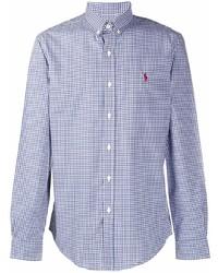 weißes und dunkelblaues Langarmhemd mit Vichy-Muster von Ralph Lauren