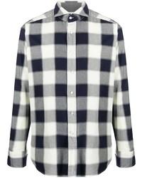 weißes und dunkelblaues Langarmhemd mit Vichy-Muster von Tagliatore