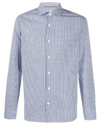 weißes und dunkelblaues Langarmhemd mit Vichy-Muster von Tintoria Mattei