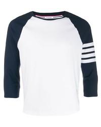 weißes und dunkelblaues Langarmshirt von Thom Browne