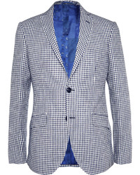 weißes und dunkelblaues Sakko mit Vichy-Muster