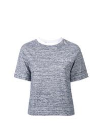weißes und dunkelblaues T-Shirt mit einem Rundhalsausschnitt von JULIEN DAVID