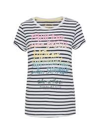 weißes und dunkelblaues T-Shirt mit einem Rundhalsausschnitt von SOCCX