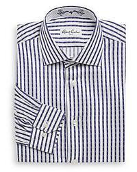 weißes und dunkelblaues vertikal gestreiftes Businesshemd