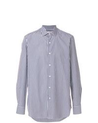 weißes und dunkelblaues vertikal gestreiftes Businesshemd von Bagutta
