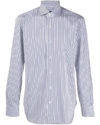 weißes und dunkelblaues vertikal gestreiftes Businesshemd von Barba