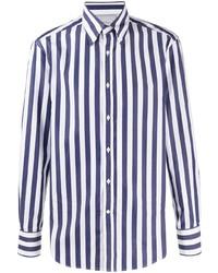 weißes und dunkelblaues vertikal gestreiftes Businesshemd von Brunello Cucinelli