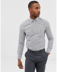 weißes und dunkelblaues vertikal gestreiftes Businesshemd von Calvin Klein