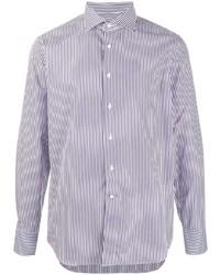 weißes und dunkelblaues vertikal gestreiftes Businesshemd von Canali