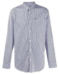 weißes und dunkelblaues vertikal gestreiftes Businesshemd von DSQUARED2