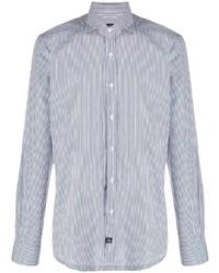 weißes und dunkelblaues vertikal gestreiftes Businesshemd von Fay