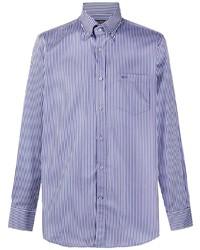 weißes und dunkelblaues vertikal gestreiftes Businesshemd von Paul & Shark