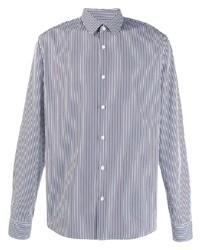 weißes und dunkelblaues vertikal gestreiftes Businesshemd von Sandro Paris