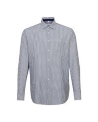 weißes und dunkelblaues vertikal gestreiftes Businesshemd von Seidensticker