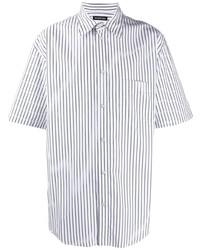 weißes und dunkelblaues vertikal gestreiftes Kurzarmhemd von Balenciaga