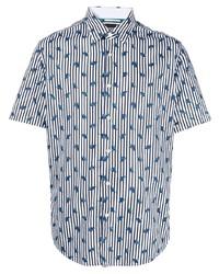 weißes und dunkelblaues vertikal gestreiftes Kurzarmhemd von BOSS HUGO BOSS