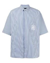 weißes und dunkelblaues vertikal gestreiftes Kurzarmhemd von Juun.J