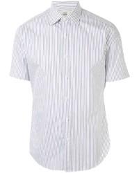 weißes und dunkelblaues vertikal gestreiftes Kurzarmhemd von Kent & Curwen