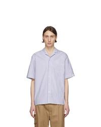 weißes und dunkelblaues vertikal gestreiftes Kurzarmhemd von MSGM