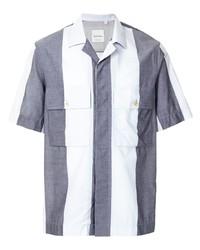 weißes und dunkelblaues vertikal gestreiftes Kurzarmhemd von Paul Smith