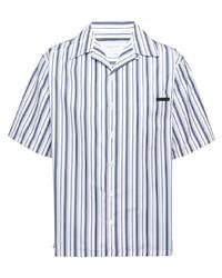 weißes und dunkelblaues vertikal gestreiftes Kurzarmhemd von Prada