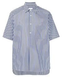 weißes und dunkelblaues vertikal gestreiftes Kurzarmhemd von Solid Homme