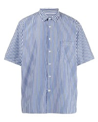 weißes und dunkelblaues vertikal gestreiftes Kurzarmhemd von Sophnet.