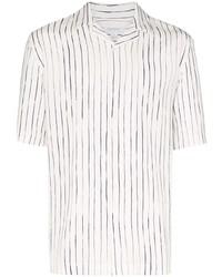 weißes und dunkelblaues vertikal gestreiftes Kurzarmhemd von Sunspel