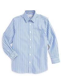weißes und dunkelblaues vertikal gestreiftes Langarmhemd