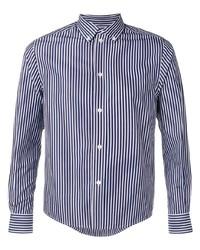 weißes und dunkelblaues vertikal gestreiftes Langarmhemd von Balenciaga