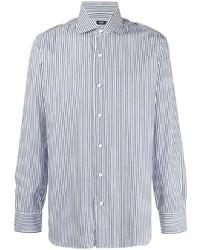 weißes und dunkelblaues vertikal gestreiftes Langarmhemd von Barba