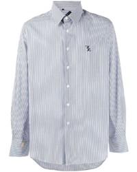 weißes und dunkelblaues vertikal gestreiftes Langarmhemd von Billionaire